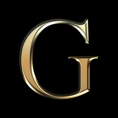 Golden matte letter G, jewellery font collection.