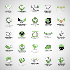 Handshake Icons Set - Isolated On Gray Background - Vector Illustration, Graphic Design