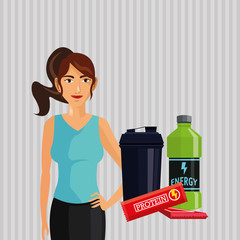 Healthy lifestyle. cartoon woman design.  bodybuilding concept