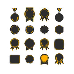 Setof medals isolated on white. label designs.