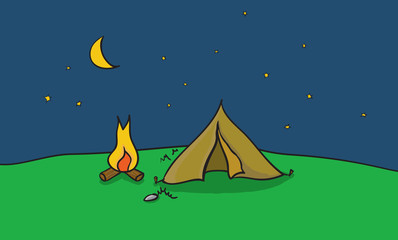Vector illustration of camping place with tent and fire place. Outside camp at clear night sky.