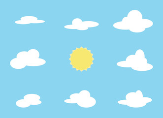 Vector set of cloud object and sun. Collection with cartoon items on blue background.