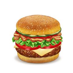 Cheeseburger. Hand-drawn illustration, digitally colored.