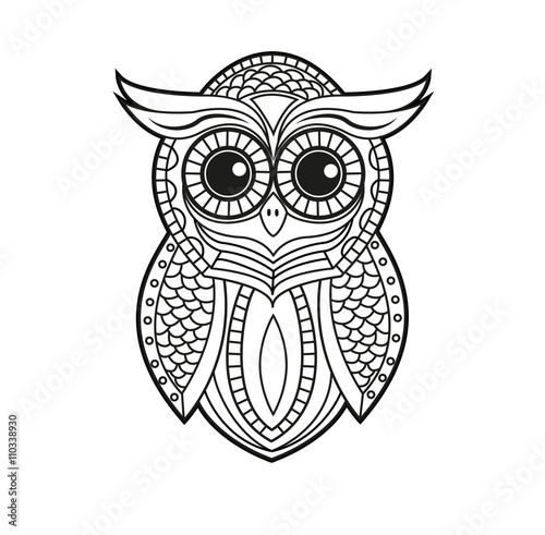 Quot Decorated Black And White Owl Vector For Coloring