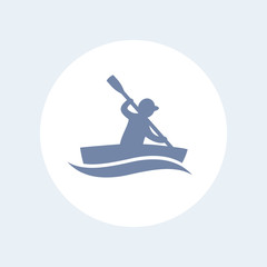 kayak isolated icon, canoeing, rowing icon, sign, vector illustration