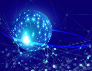 global network 3d blue ground