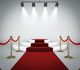 Red carpet and podium