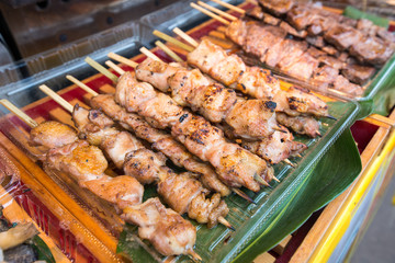 Cooked chicken on stick ready to eat