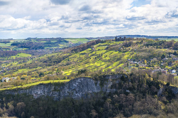 English countryside and Matlock town seen from Heights of Abraham, Derbyshire, UK