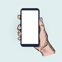 Hand holding smartphone. Phone touch gestures. Vintage sketch style. Vector color illustration.