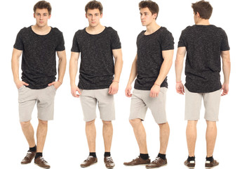 Full length portrait of handsome man in shorts isolated