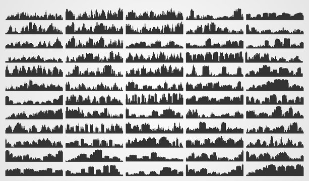 Set city silhouettes