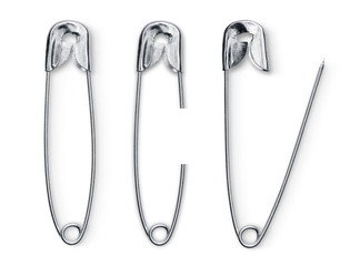 Set of safety pin solated background