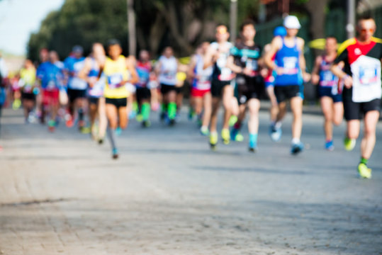 group of marathon runners, abstract blurry picture