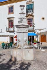 Ourives Fountain in Capitao Salgueiro Maia Square, Castelo de Vide, Portugal. 19th century fountain.