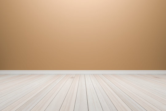 Empty interior light brown room with wooden floor, For display o