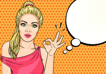 Vector pop art woman showing OK hand sign with speech cloud. Sexy blonde comic woman with speech bubble.