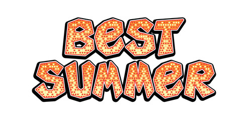 Best summer word in pop art retro comic style. Best summer hand drawn phrase, fun bright lettering.