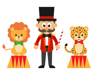 circus man and circus lion and leopard vector
