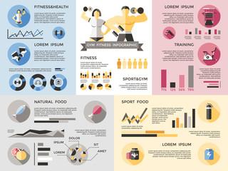 Gym Fitness Infographics Set