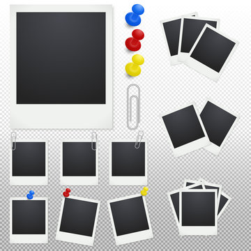 Set of polaroid photo frames with clips and thumbtacks