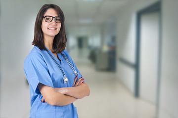smiling doctor in hospital