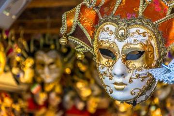 Venetian mask Italy. / Tradional venetian mask in street store during carnival time.