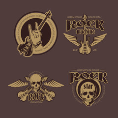 Rock and Roll vector color vintage emblems, labels, badges, logos set