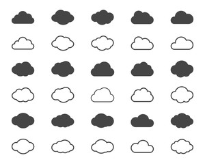 Clouds shapes or black icons set. Vector elements for weather forecast and storage applications