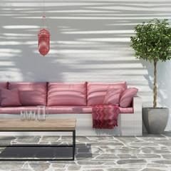 Contemporary Moroccan island outdoor summer lounge