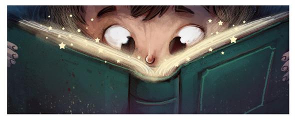 niño con libro de magia