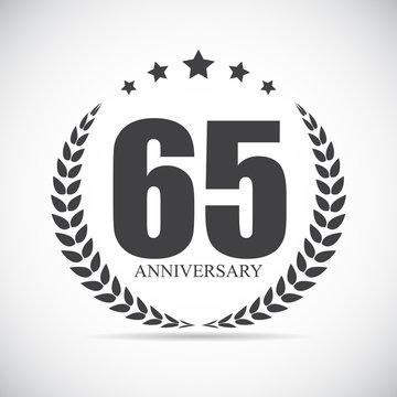 Template Logo 65 Years Anniversary Vector Illustration