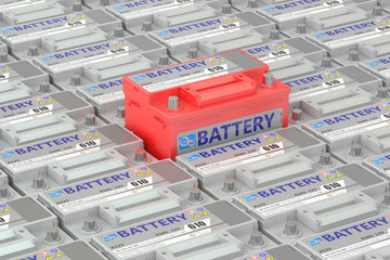 Car batteries background, 3D rendering