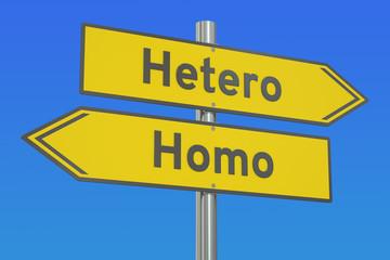 Hetero vs Homo concept, 3D rendering
