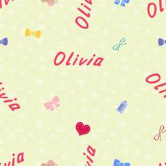 Seamless background pattern name Olivia of the newborn