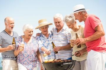 Seniors having barbecue