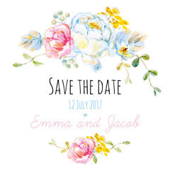 Save the date or wedding invitation with white rose on the white background. Watercolor with delicate flowers.
