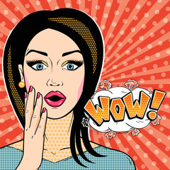 Modern woman surprised face with WOW word bubble in pop art comic style. Young girl shocked face with open mouth and message WOW!