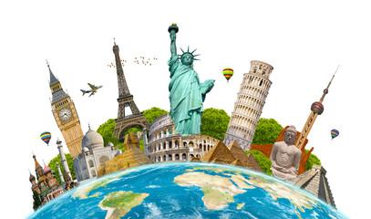 Famous landmarks of the world surrounding planet Earth