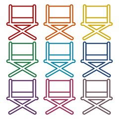 Director chair - vector icons set