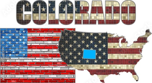 Usa State Of Colorado On A Brick Wall Illustration The Flag Of