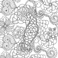Cute cockatoo in fantasy flowers.