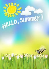background summer flowers and bee sun.vector illustration