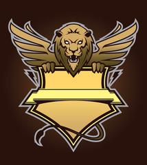 Lion with shield. Design element
