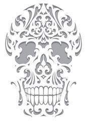 Skull illustration in art nouveau style