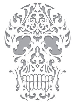 Skull illustration in art nouveau style