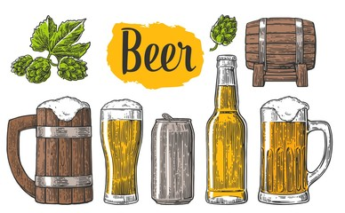 Beer class, can, bottle, barrel. Vintage vector engraving illustration