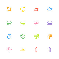 colorful line weather icon set for web design, user interface (UI), infographic and mobile application (apps)
