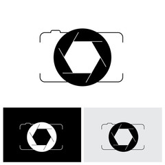 abstract digital camera & shutter logo icon outline front view