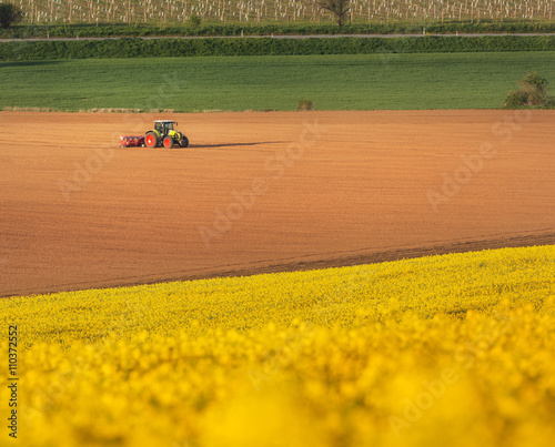 Tractor Plowing A Field In South Moravia At Sunset Beautiful View